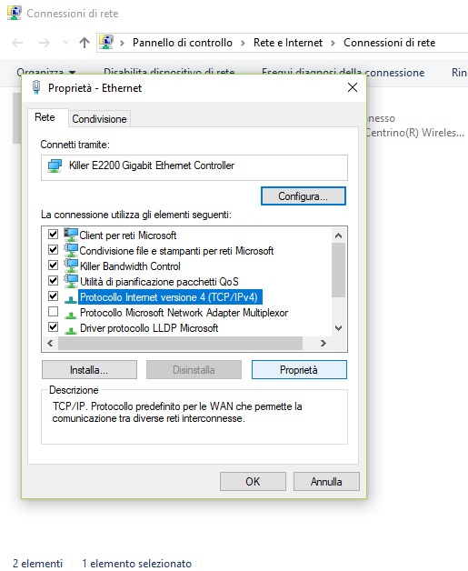 Protocollo Internet versione 4 (TCP IPv4) Windows 10