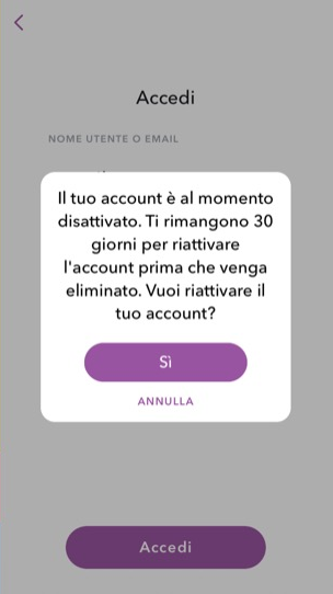 Account Snapchat disattivato