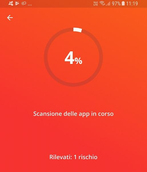 Scansione antivirus Avast Android
