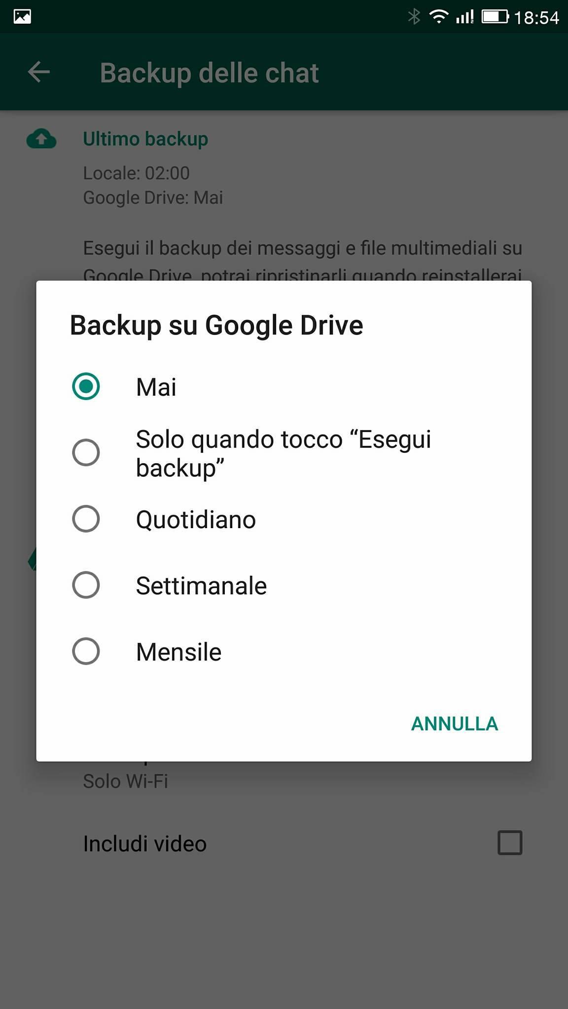 Come fare backup chat Whatsapp Google Drive