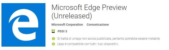 Microsoft Edge per Android
