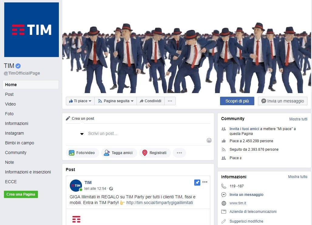 Pagina Facebook Tim 2018