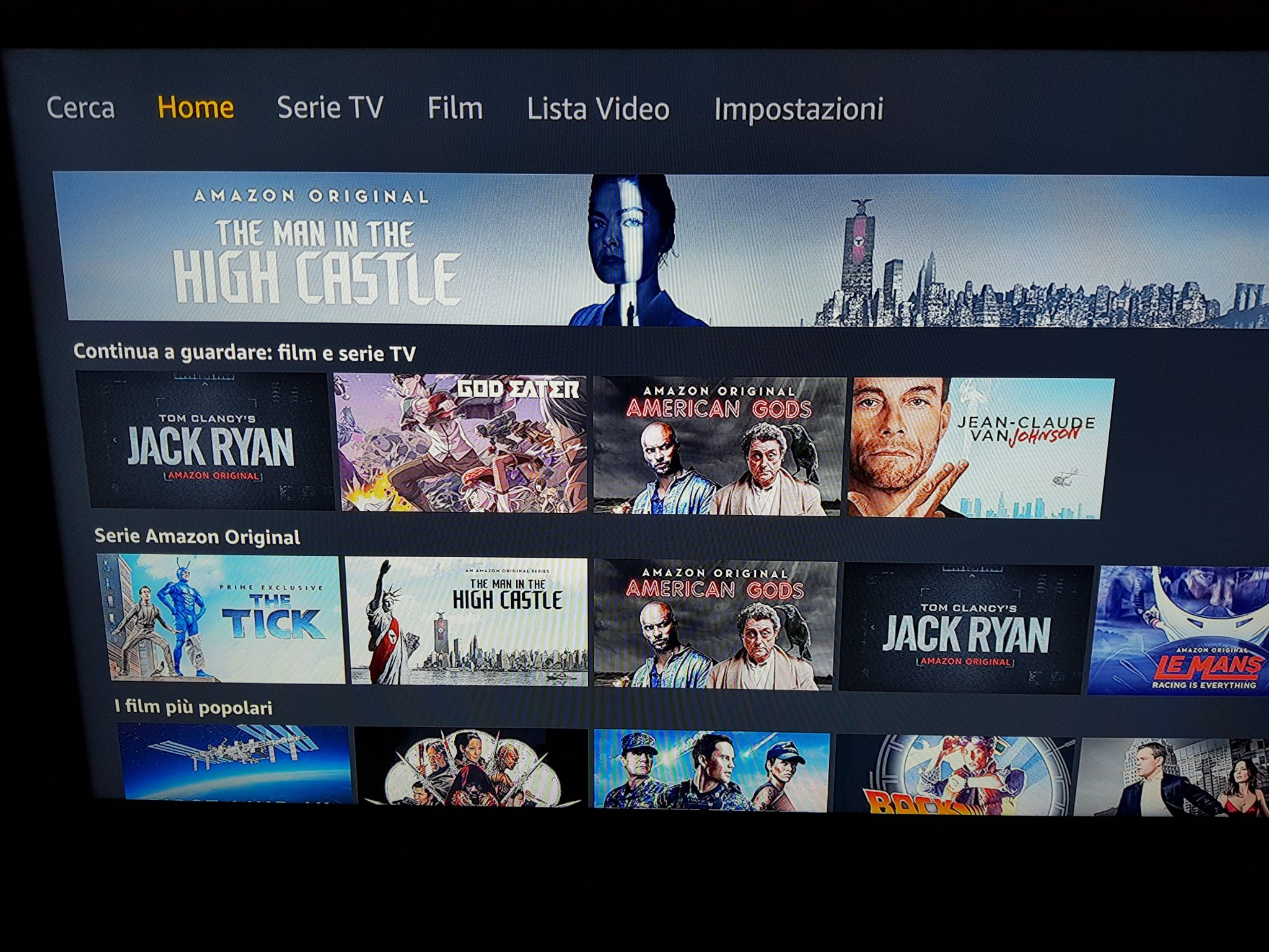 Pagina principale Amazon Fire Stick