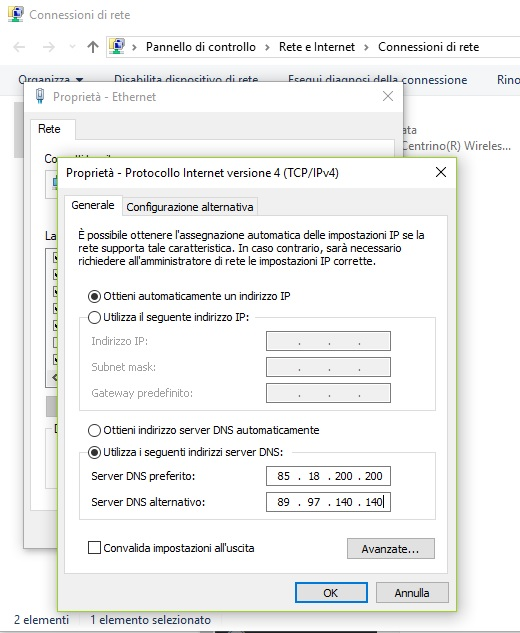 DNS Fastweb Windows 10