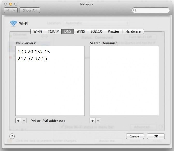 DNS Infostrada Mac