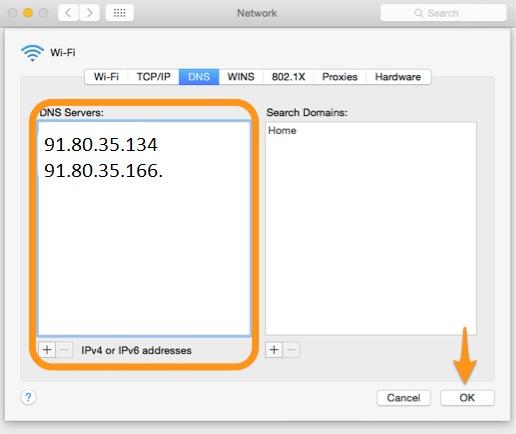 DNS Vodafone Mac