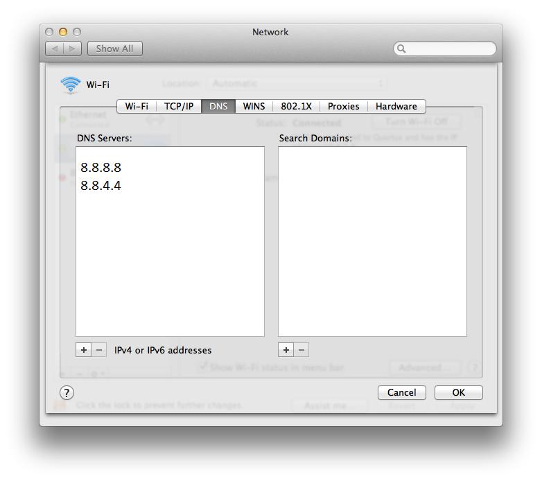 Google DNS Mac