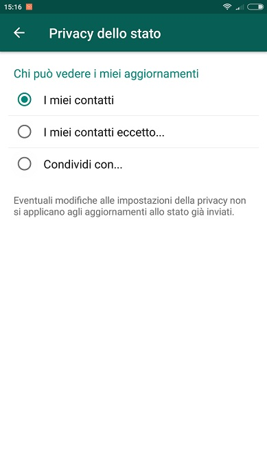 Stato Whatsapp privacy