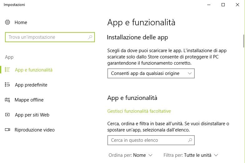 App e funzionalità Windows 10