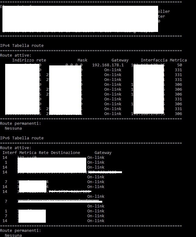 Netstat -r Windows 10 comando