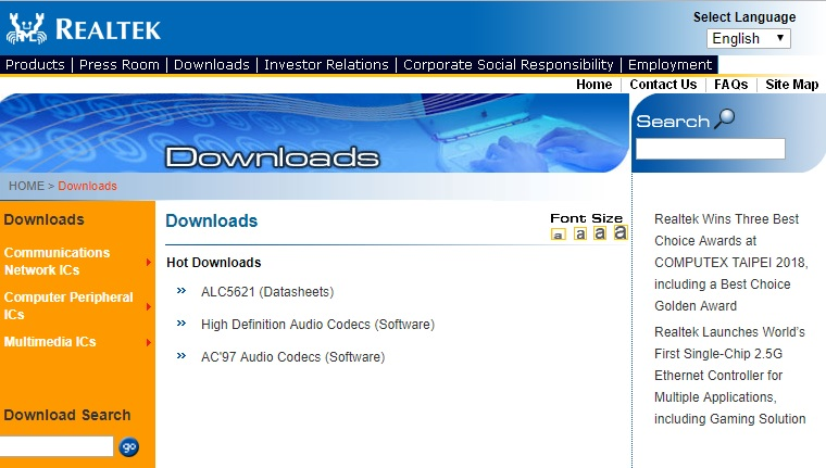 Realtek download driver audio Windows