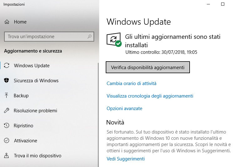 verifica disponibilità aggiornamenti Windows 10